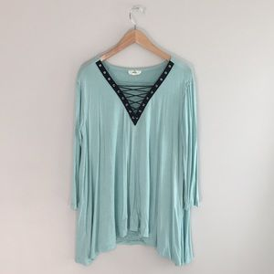 Entro green lace up long sleeve tunic